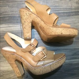 Coach Katee Tan Cork Platform Buckle Sandals 8.5 B